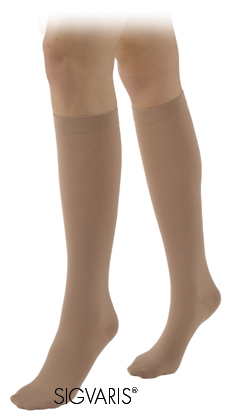 Sigvaris Women's Calf High Cotton Compression Stockings (Closed Toe)