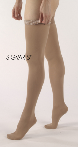 Sigvaris Unisex Thigh High Natural Rubber Stockings w/ Waist Attachment (Open Toe)  - Specify Leg