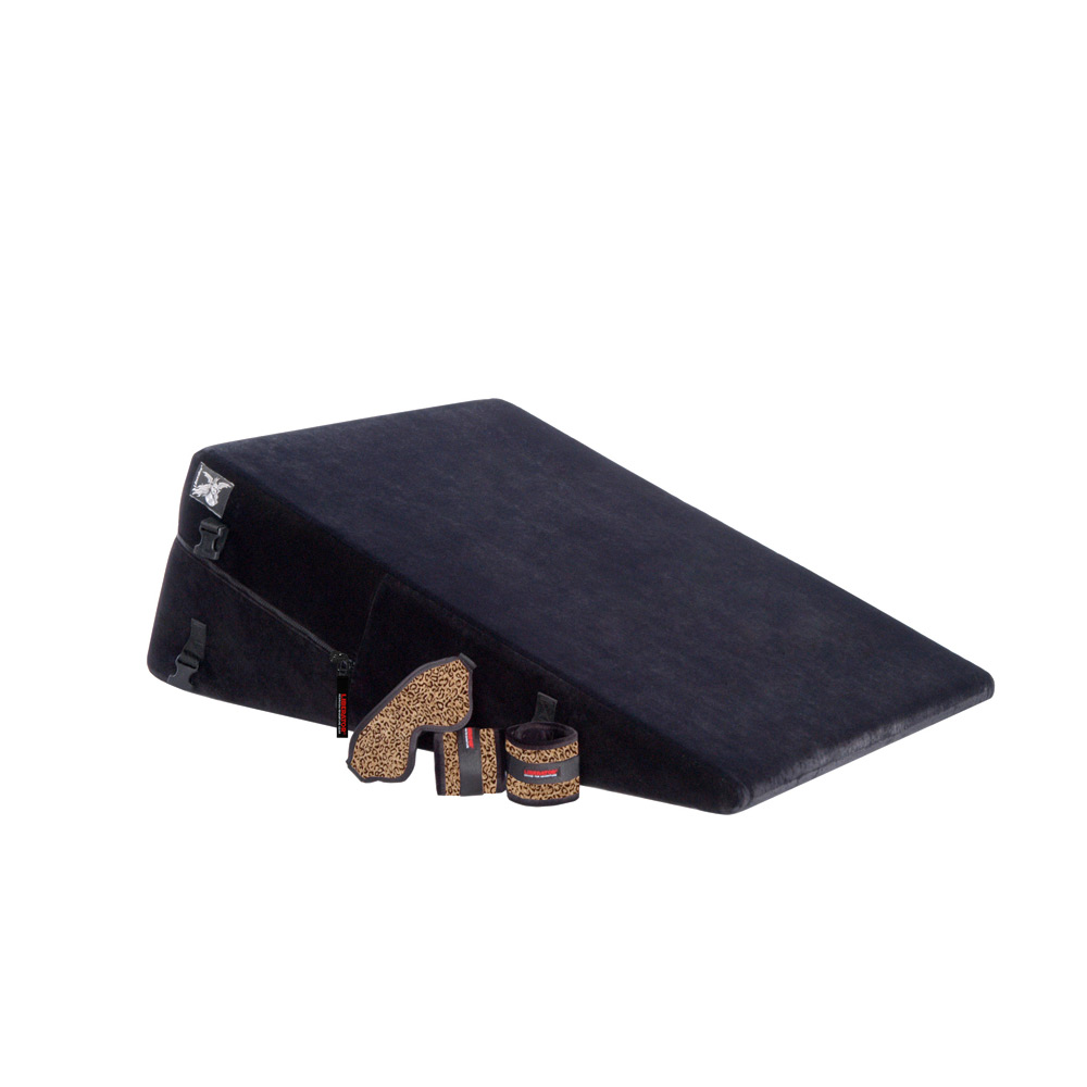 Liberator Black Label Ramp Sex Pillow (Regular) w/ wrist, ankle cuffs, blindfold, and tethers
