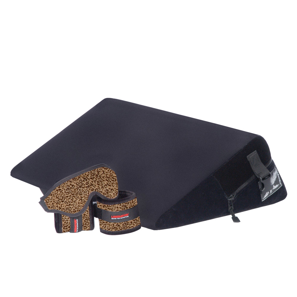 Liberator Black Label Wedge Sex Pillow w/ wrist, ankle cuffs, blindfold, and tethers