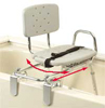 Transfer Bench Tub Mt. Swivel Molded Seat/Back X-Short