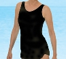 Jodee Beautiful Solid Black Sarong Swimsuit -  Misses (Soft Cup)